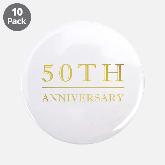 """50th Anniversary Gold Shadowed 3.5"""" Button (10 pac"""