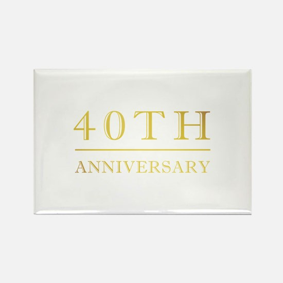 40th Anniversary Gold Shadowed Rectangle Magnet