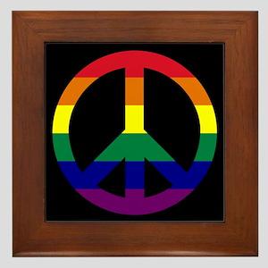 Pride Peace Sign Framed Tile