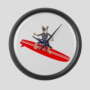 Australian Cattle Dog Surfer Large Wall Clock
