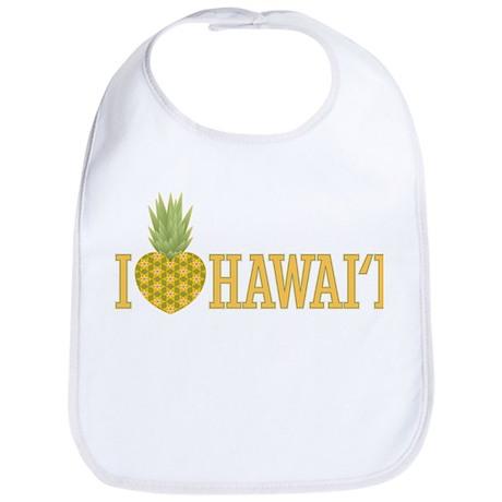 I Love Hawai'i Pineapple Heart Bib