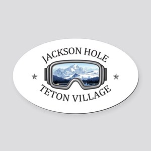 Jackson Hole - Teton Village - W Oval Car Magnet