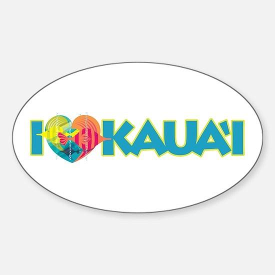 I Love Kaua'i Sticker (Oval)