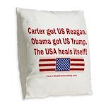 USA Heals Itself Burlap Throw Pillow