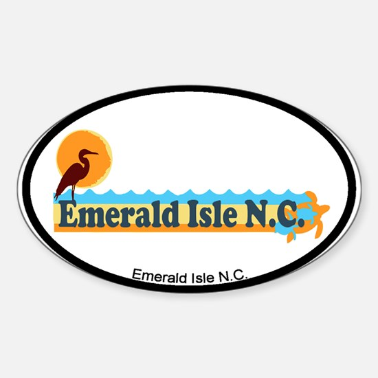 Emerald Isle NC - Beach Design Sticker (Oval)