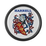 Harrell Coat of Arms Large Wall Clock