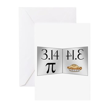PI 3.14 Reflected as PIE Greeting Cards (Pk of 10)