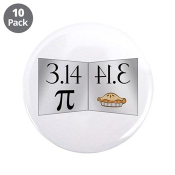 "PI 3.14 Reflected as PIE 3.5"" Button (10 pack"