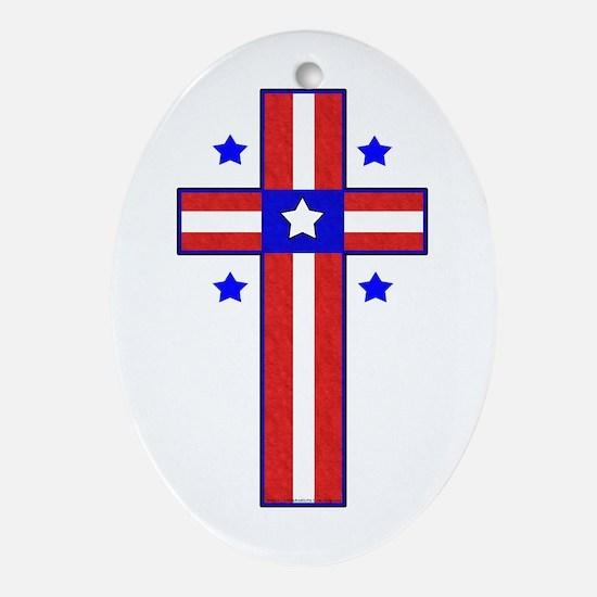 Christian Cross Oval Ornament