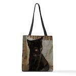 Little Black Kitten Polyester Tote Bag