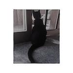Black Cat At Screen Door Throw Blanket