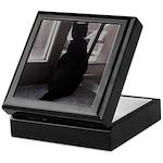 Black Cat at Screen Door Keepsake Box