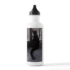 Black Cat at Screen Door Water Bottle