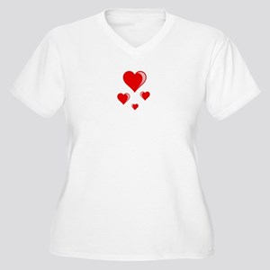 Red hearts Women's Plus Size V-Neck T-Shirt