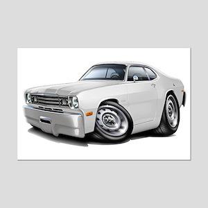 Duster White Car Mini Poster Print