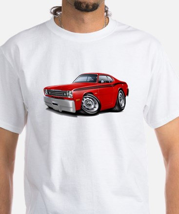 Duster Red-Black Car White T-Shirt