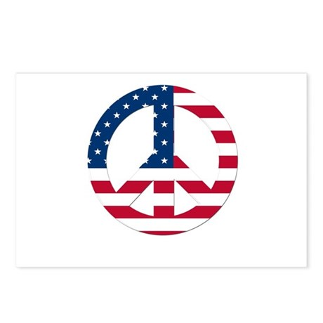 USA Flag Peace Sign Postcards (Package of 8)