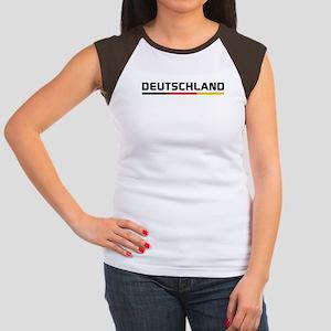 Soccer DEUTSCHLAND Stripe Women's Cap Sleeve T-Shi