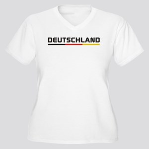 Soccer DEUTSCHLAND Stripe Women's Plus Size V-Neck