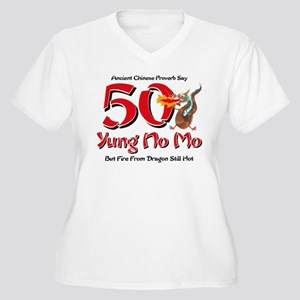 Yung No Mo 50th Birthday Women's Plus Size V-Neck