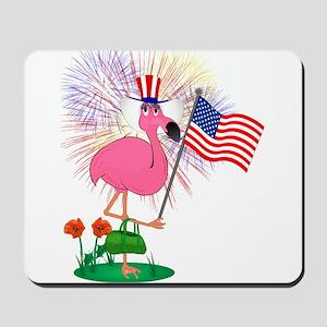 Funny 4th of July Flamingo Mousepad