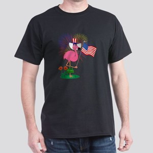 Funny 4th of July Flamingo Dark T-Shirt