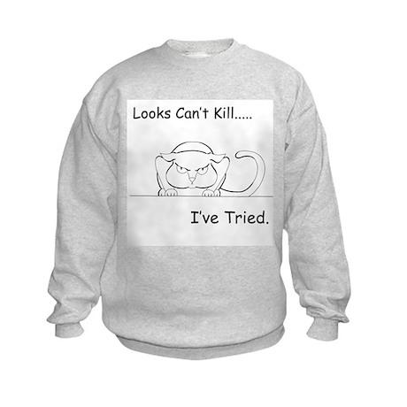 Looks Can't Kill (cat) Kids Sweatshirt