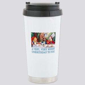 A VERY MERRY UNBIRTHDAY Stainless Steel Travel Mug