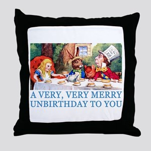 A VERY MERRY UNBIRTHDAY Throw Pillow