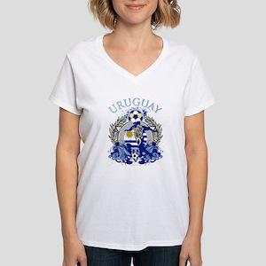 Uruguay Soccer Women's V-Neck T-Shirt