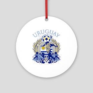 Uruguay Soccer Round Ornament