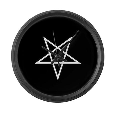 White Pentagram Large Wall Clock
