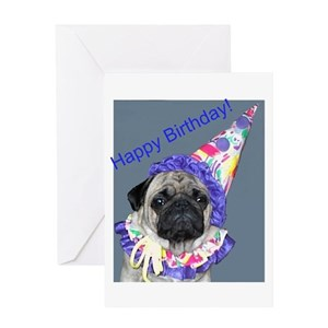 Pug Dog Birthday Greeting Cards