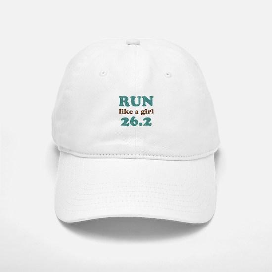 Run like a girl 26.2 Baseball Baseball Cap