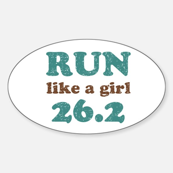 Run like a girl 26.2 Sticker (Oval)