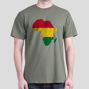 Africa Flag Textured Dark T-Shirt