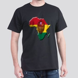 Africa Flag with Mask Dark T-Shirt