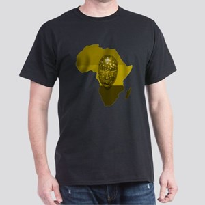 Africa with Mask Monotone Dark T-Shirt