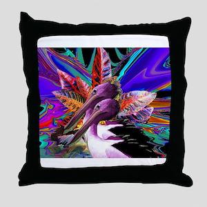 Purple Pelican Throw Pillow