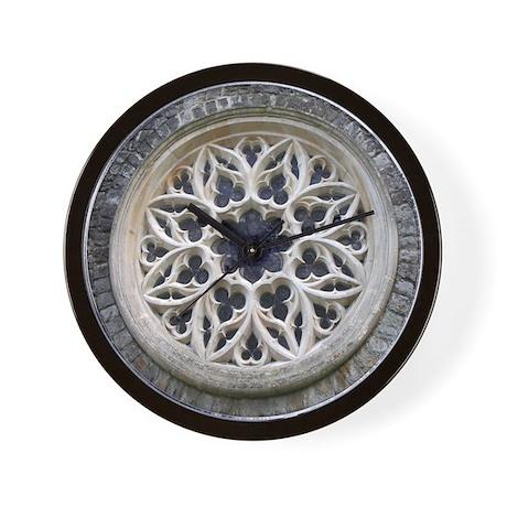 Stone Rose Window Wall Clock