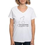 WWII Girls Baseball League Women's V-Neck T-Shirt