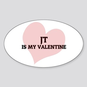 Jt Is My Valentine Oval Sticker