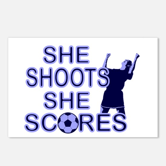 She shoots girls soccer Postcards (Package of 8)