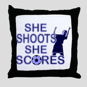 She shoots girls soccer Throw Pillow
