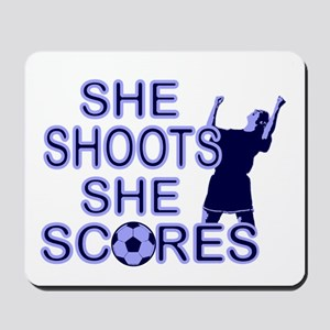 She shoots girls soccer Mousepad