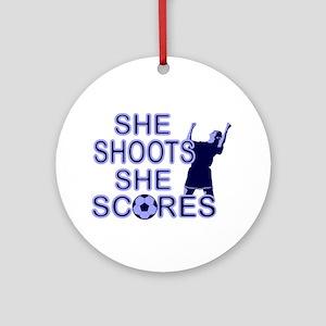 She shoots girls soccer Ornament (Round)