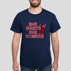 She Shoots ladies soccer Dark T-Shirt