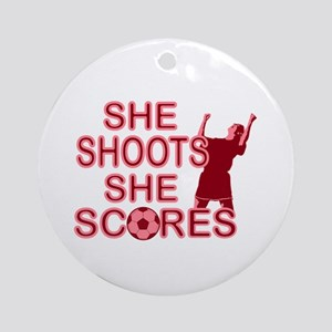 She Shoots ladies soccer Ornament (Round)