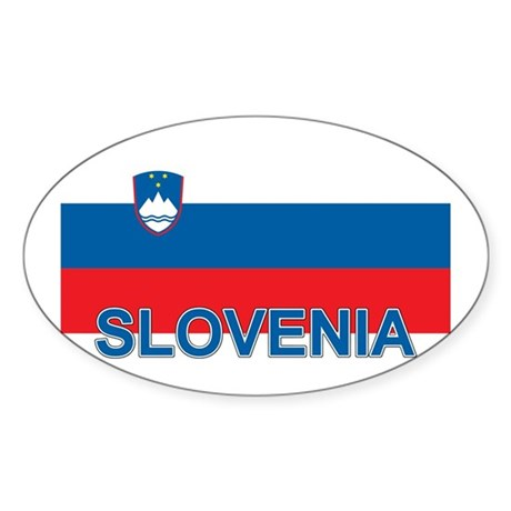 Slovenian Flag (labeled,colors) Sticker (Oval)