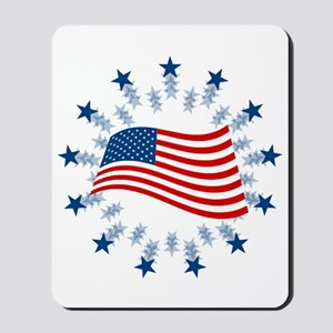 Flag In Circle of Stars Mousepad